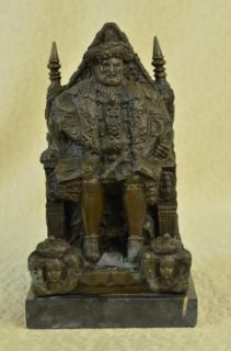 Original Signed Milo Man Throne Bronze Sculpture Statue Art Deco