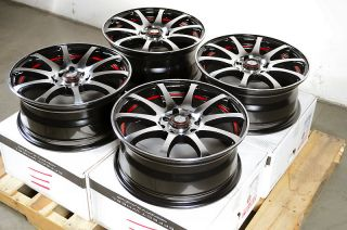 15 4x114 3 4x100 Black Red 4 Lug Wheels Miata Jetta Golf Accord Cooper