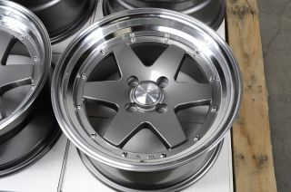 15x8 4x100 Gun Metal Effect Rims Low Offset Polished Miata Cabrio CRX
