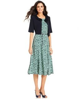 Jessica Howard Petite Dress and Jacket, Sleeveless Belted Printed