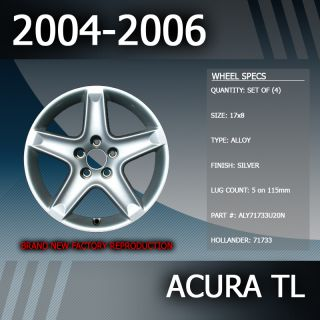 2004 2006 Acura TL Factory 17 Rims Wheels Set of 4