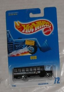 1991 Mattel Hot Wheels Black Police Bus 72 Diecast