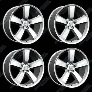 Silver Machined Face Wheels 20x9 Rims with Logo Cap 4pc New