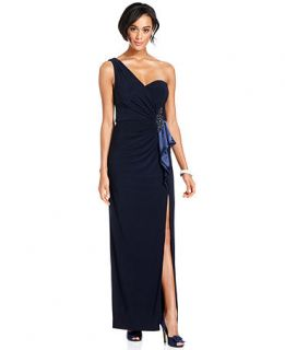 Xscape Dress, Sleeveless One Shoulder Beaded Gown   Womens Dresses