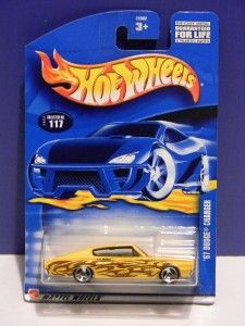 2002 Hot Wheels 67 Dodge Charger 117 Yellow Flames