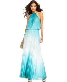 Xscape Dress, Sleeveless Pleated Glittered Ombre Gown   Womens Dresses