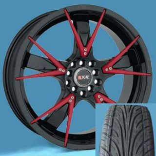 18 Wheels and Tires Package XXR 508 Rims Black Red