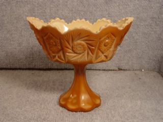 Fenton Chocolate Slag Glass Footed Bowl