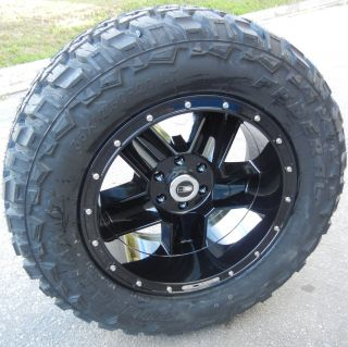 20 BLACK HD HARDLINE DIG WHEELS & 35 FEDERAL COURAGIA M/T TIRES FORD