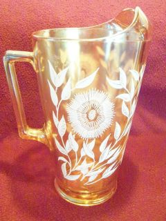 1940s Sunflower Marigold Carnival Glass Pitcher Set, Jeanette Glass Co