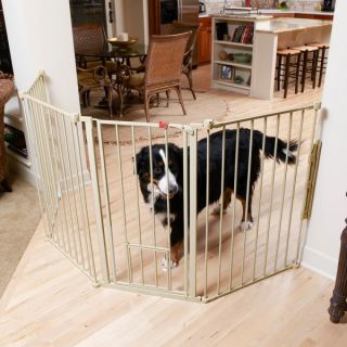 Extra Tall Flexi Metal Walk Through Gate w/Small Pet Door and Extensions   Hardware Mounted Gates   Gates