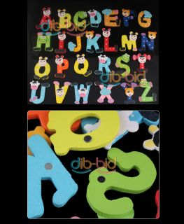 Cute Set 26 Letters Alphabet Wooden Fridge Magnet Small