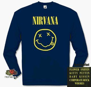 NIRVANA SMILEY flower kissin kurt cobain rock Longsleeve T
