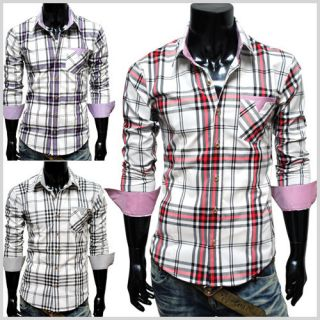 CHS6) THELEES Mens Casual Stylish Long Sleeve Stripe Patch Checker