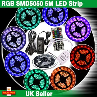 5M SMD 5050 RGB LED Strip Light +Power Supply Adapter+44Key IR Remote