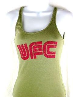 UFC Red Logo Womens Olive Tank Top Shirt New