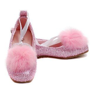 12 Pink Sparkle Marabou Ribbon Ballet Flat Shoe China Doll Shoes