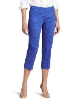 Calvin Klein Womens Printed Crop Trouser, Lapis Combo, 12