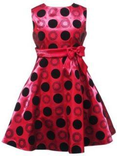 Rare Editions Girls 7 16 Flocked Dot Dress, Red/Black, 10