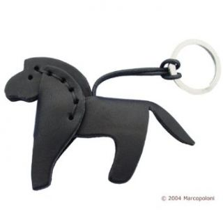 CAVALLO   Horse Italian Leather Key Chain (Black