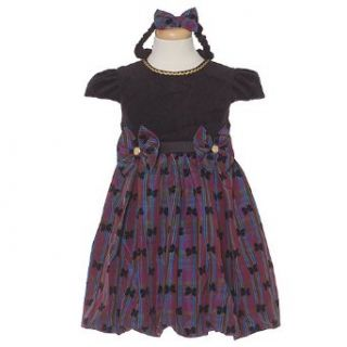 Purple Plaid Black Flocked Bow Gold Trim Christmas Dress