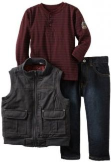 Calvin Klein Boys 2 7 Tee And Jean Canvas Puffy Vest, Gray