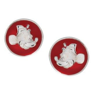 Disneys Minnie Mouse Sterling Silver Red Enamel Stud Earrings