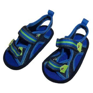 Infant Toddler Boys Blue Sandal with Green and Blue Ribbon Shoes
