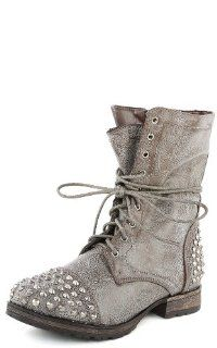 Georgia28 Studded Lace Up Combat Boots Shoes