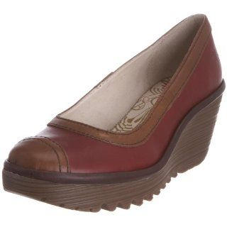 Womens Yang Wedge Pump,Red/Camel/Dark Brown Rug,38 EU/7 M US Shoes