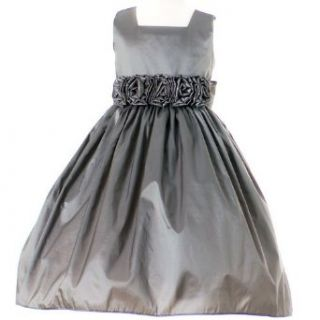 Sweet Kids Girls Silver Taffeta Easter Flower Girl Dress 2