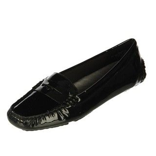 Anne Klein Womens Grefty Black Patent Driving Loafers