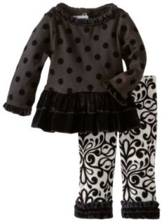 Mud Pie Baby girls Infant Ruffle Top and Damask Leggings