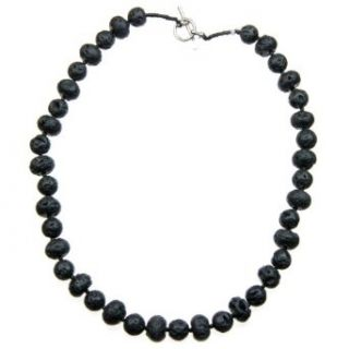18 Black Lava Bead Necklace with a Toggle Clasp Clothing
