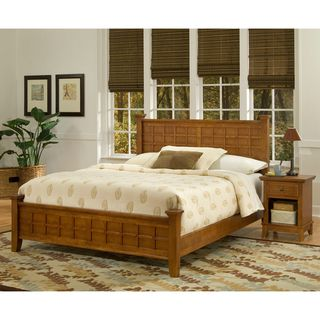 Home Styles Arts & Crafts Oak Queen Bed and Night Stand Cottage