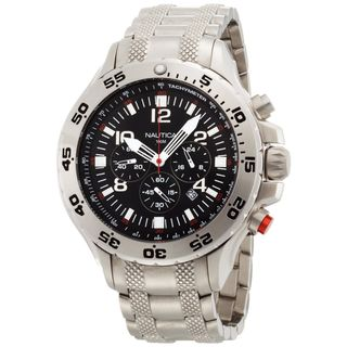 Nautica Mens NST Chrono N19508G Silver Stainless Steel Quartz Black