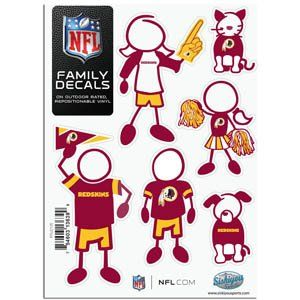 Washington Redskins 5in x 7in Family Car Decal Sheet
