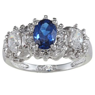 Sterling Essentials Silver Oval cut Blue and White Cubic Zirconia Ring