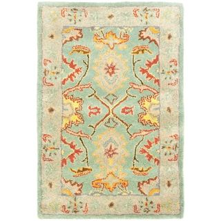 Handmade Heritage Treasures Light Blue/ Ivory Wool Rug (2 x 3