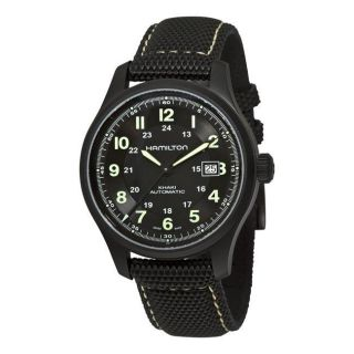 Hamilton Mens Khaki Field Black PVD Titanium Automatic Watch