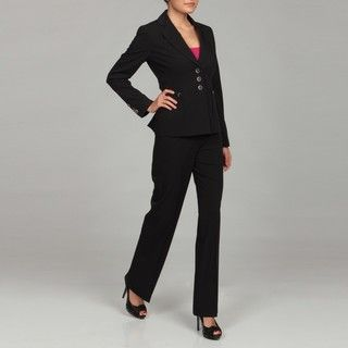 Nine West Womens Black/ White Three button Pant Suit