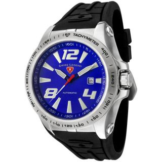 Swiss Legend Mens Sprint Racer Black Silicone Automatic Watch