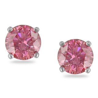 Miadora 14k White Gold 1ct TDW Pink Diamond Stud Earrings