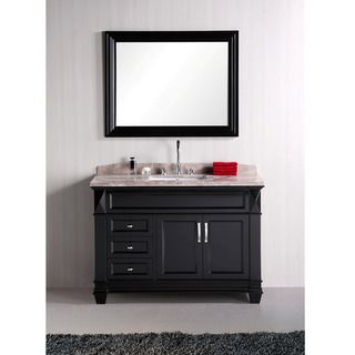 Design Element Hudson 48 inch Single Sink Marble Top Bathroom Vanity