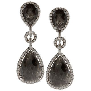 14K White Gold 21ct TDW Black Diamond Dangle Earrings (G VS1