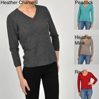 In Cashmere Womens Cashmere V neck 3/4 sleeve Sweater