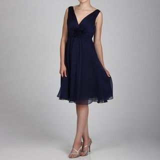 Jessica Howard Womens Navy Ruched Waist Dress