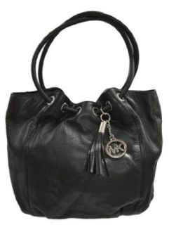 Michael Kors Black Leather MD Ring Tote Handbag Bag Purse