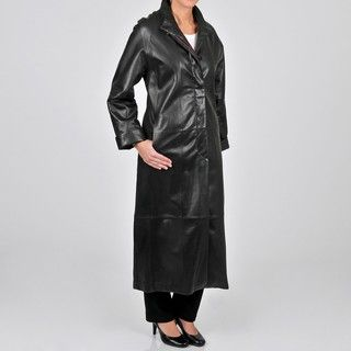 Tibor Design Womens Plus Size Full length Leather Swing Coat