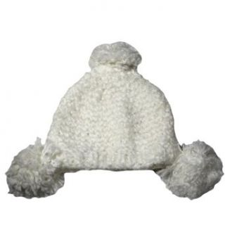 White Ultra Plush Thick Knit Triple Pom Pom Beanie Cap Hat